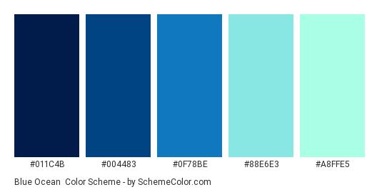 Blue Ocean - Color scheme palette thumbnail - #011C4B #004483 #0F78BE #88E6E3 #A8FFE5