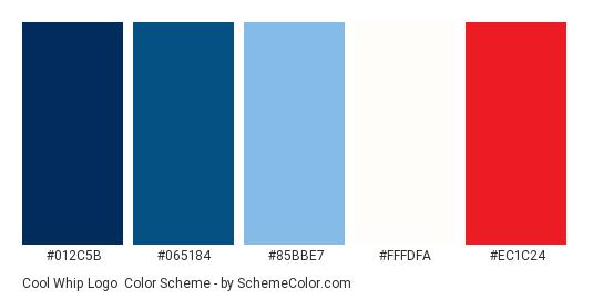 Cool Whip Logo - Color scheme palette thumbnail - #012c5b #065184 #85bbe7 #fffdfa #ec1c24