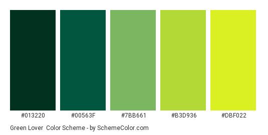 Green Lover - Color scheme palette thumbnail - #013220 #00563F #7BB661 #B3D936 #DBF022