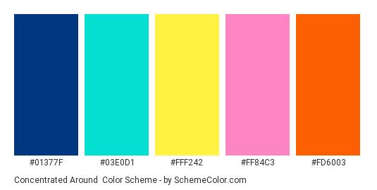 Concentrated Around - Color scheme palette thumbnail - #01377F #03E0D1 #FFF242 #FF84C3 #FD6003