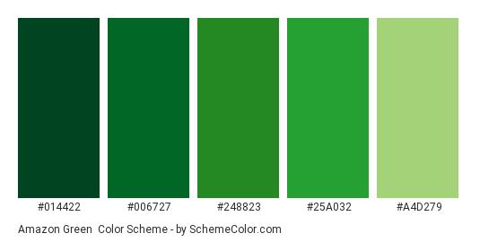 Amazon Green - Color scheme palette thumbnail - #014422 #006727 #248823 #25a032 #A4D279