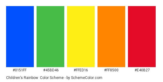 Children's Rainbow - Color scheme palette thumbnail - #0151ff #45bd46 #ffed16 #ff8500 #e40b27