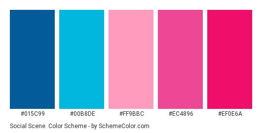 Social Scene - Color scheme palette thumbnail - #015c99 #00b8de #ff9bbc #ec4896 #ef0e6a