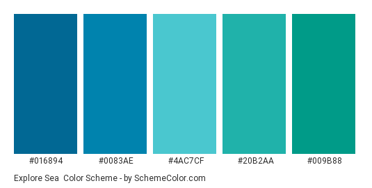 Explore Sea - Color scheme palette thumbnail - #016894 #0083ae #4ac7cf #20b2aa #009b88