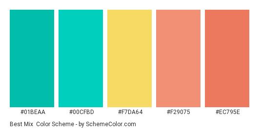 Best Mix - Color scheme palette thumbnail - #01BEAA #00CFBD #F7DA64 #F29075 #EC795E