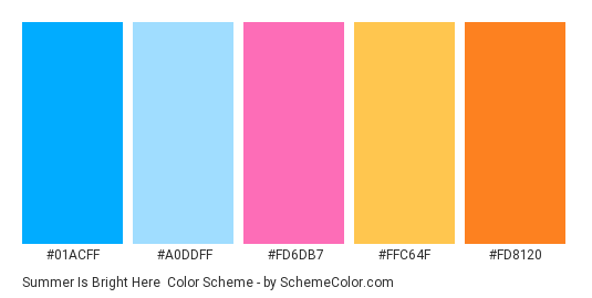 Summer Is Bright Here - Color scheme palette thumbnail - #01acff #a0ddff #fd6db7 #ffc64f #fd8120
