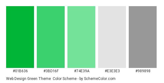 Web Design Green Theme - Color scheme palette thumbnail - #01b636 #3bd16f #74e39a #e3e3e3 #989898