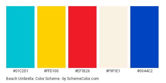 Beach Umbrella - Color scheme palette thumbnail - #01c2d1 #ffd100 #ef1b26 #f9f1e1 #0044c2