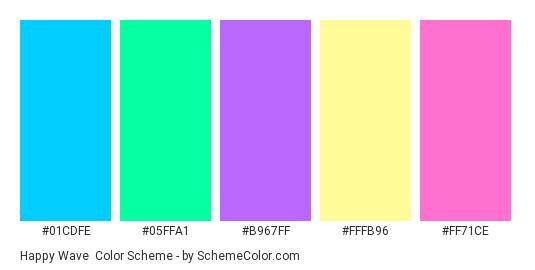 Happy Wave - Color scheme palette thumbnail - #01cdfe #05ffa1 #b967ff #fffb96 #ff71ce