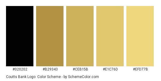 Coutts Bank Logo - Color scheme palette thumbnail - #020202 #b29343 #ceb15b #e1c76d #efd77b