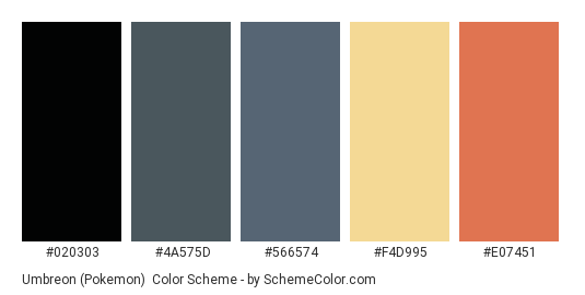 Umbreon (Pokemon) - Color scheme palette thumbnail - #020303 #4A575D #566574 #F4D995 #E07451