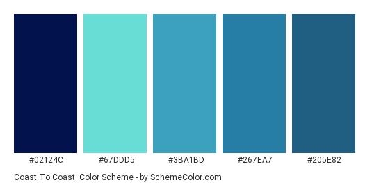 Coast to Coast - Color scheme palette thumbnail - #02124c #67ddd5 #3ba1bd #267ea7 #205e82