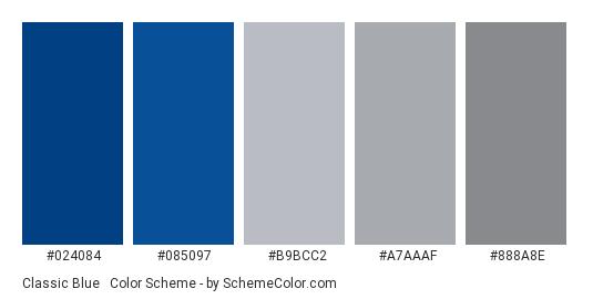 Classic Blue & Grey - Color scheme palette thumbnail - #024084 #085097 #b9bcc2 #a7aaaf #888a8e
