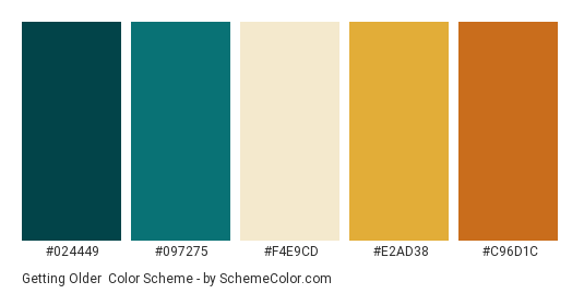 Getting Older - Color scheme palette thumbnail - #024449 #097275 #F4E9CD #E2AD38 #C96D1C