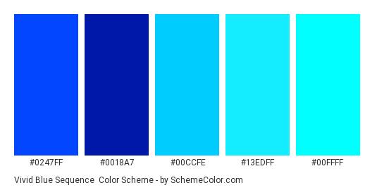 Vivid Blue Sequence - Color scheme palette thumbnail - #0247FF #0018A7 #00CCFE #13EDFF #00FFFF