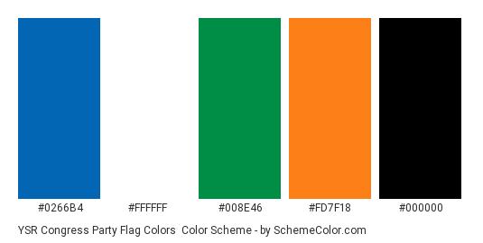YSR Congress Party Flag Colors - Color scheme palette thumbnail - #0266b4 #ffffff #008e46 #fd7f18 #000000