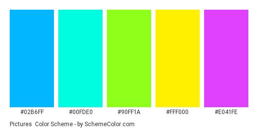 Pictures - Color scheme palette thumbnail - #02B6FF #00FDE0 #90FF1A #FFF000 #E041FE