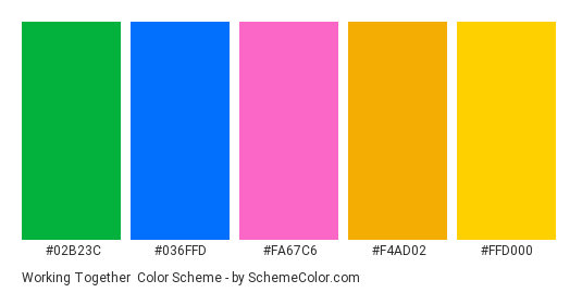 Working Together - Color scheme palette thumbnail - #02b23c #036ffd #fa67c6 #f4ad02 #ffd000
