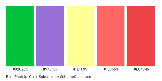 Bold Pastels - Color scheme palette thumbnail - #02c23c #976fd7 #feff95 #fe6663 #ec4346
