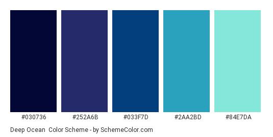 Deep Ocean - Color scheme palette thumbnail - #030736 #252A6B #033F7D #2AA2BD #84E7DA