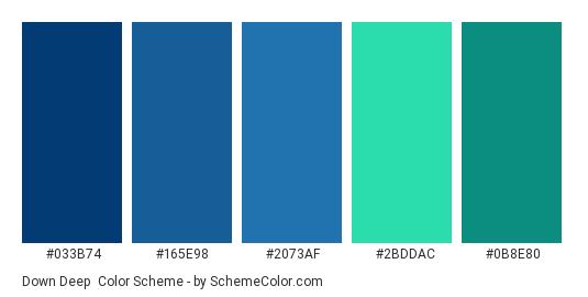 Down Deep - Color scheme palette thumbnail - #033B74 #165E98 #2073AF #2BDDAC #0B8E80