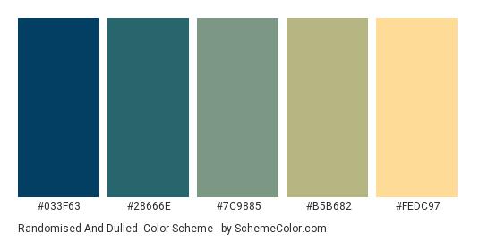 Randomised and Dulled - Color scheme palette thumbnail - #033f63 #28666e #7c9885 #b5b682 #fedc97