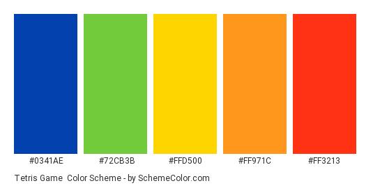 Tetris Game - Color scheme palette thumbnail - #0341AE #72CB3B #FFD500 #FF971C #FF3213