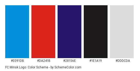FC Minsk Logo - Color scheme palette thumbnail - #0391db #da241b #28156e #1e1a19 #dddcda
