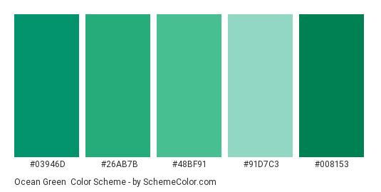 Ocean Green Color Scheme Palette Thumbnail 03946d 26ab7b 48bf91 91d7c3