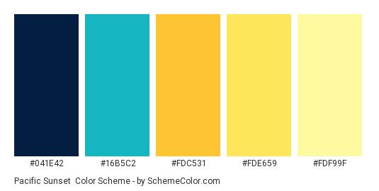 Pacific Sunset - Color scheme palette thumbnail - #041E42 #16B5C2 #FDC531 #FDE659 #FDF99F