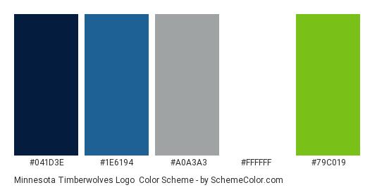 Minnesota Timberwolves Logo - Color scheme palette thumbnail - #041d3e #1e6194 #a0a3a3 #ffffff #79c019
