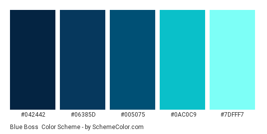 Blue Boss - Color scheme palette thumbnail - #042442 #06385d #005075 #0ac0c9 #7dfff7