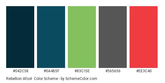 Rebellion Afoot - Color scheme palette thumbnail - #042C38 #0A4B5F #83C15E #565656 #ee3c40
