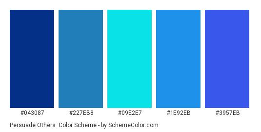 Persuade Others - Color scheme palette thumbnail - #043087 #227EB8 #09E2E7 #1E92EB #3957EB