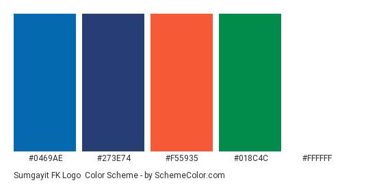 Sumgayit FK Logo - Color scheme palette thumbnail - #0469ae #273e74 #f55935 #018c4c #ffffff