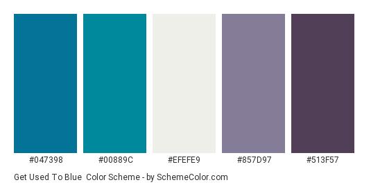 Get Used to Blue - Color scheme palette thumbnail - #047398 #00889c #efefe9 #857d97 #513f57