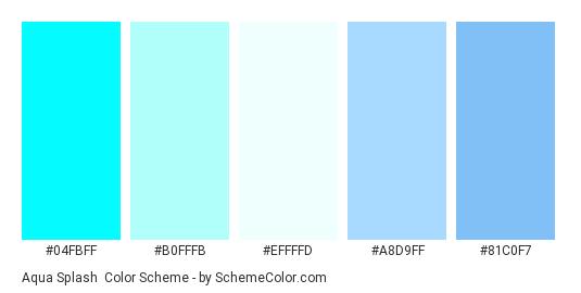 Aqua Splash - Color scheme palette thumbnail - #04fbff #b0fffb #effffd #a8d9ff #81c0f7