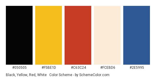 Black, Yellow, Red, White & Blue - Color scheme palette thumbnail - #050505 #F5Be1d #c63c24 #fcebd6 #2e5995