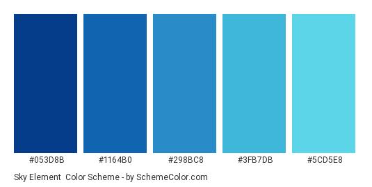 Sky Element - Color scheme palette thumbnail - #053d8b #1164b0 #298bc8 #3fb7db #5cd5e8