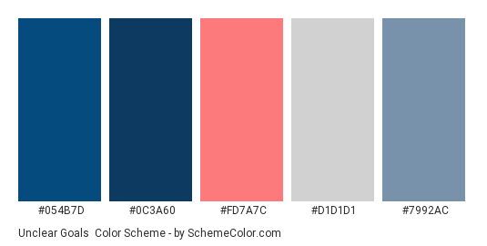 Unclear Goals - Color scheme palette thumbnail - #054b7d #0c3a60 #fd7a7c #d1d1d1 #7992ac