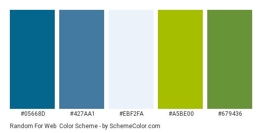 Random for Web - Color scheme palette thumbnail - #05668d #427aa1 #ebf2fa #a5be00 #679436