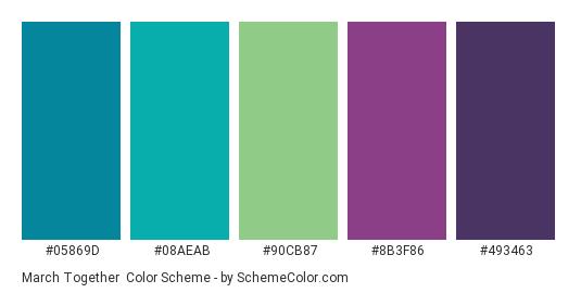 March Together - Color scheme palette thumbnail - #05869D #08AEAB #90cb87 #8B3F86 #493463