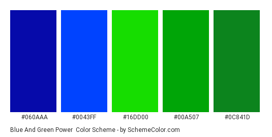 Blue and Green Power - Color scheme palette thumbnail - #060AAA #0043FF #16DD00 #00A507 #0C841D