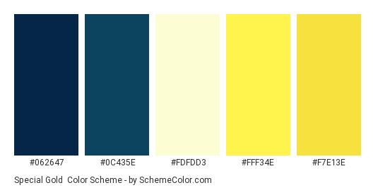 Special Gold - Color scheme palette thumbnail - #062647 #0c435e #fdfdd3 #fff34e #f7e13e