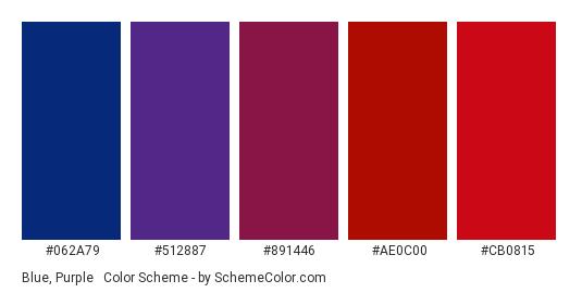 Blue, Purple & Red - Color scheme palette thumbnail - #062A79 #512887 #891446 #AE0C00 #CB0815