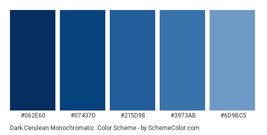 Dark Cerulean Monochromatic - Color scheme palette thumbnail - #062e60 #07437d #215d98 #3973ab #6d9bc5