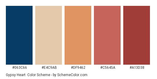 Gypsy Heart - Color scheme palette thumbnail - #063C66 #E4C9AB #DF9462 #c5645a #a13d38