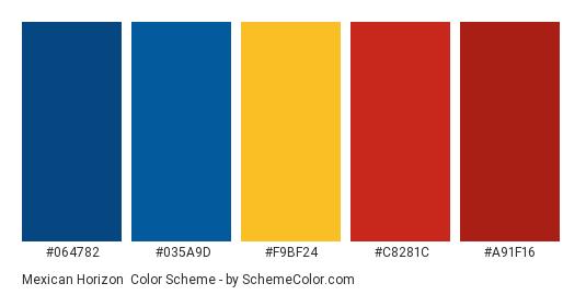 Mexican Horizon - Color scheme palette thumbnail - #064782 #035a9d #f9bf24 #c8281c #a91f16