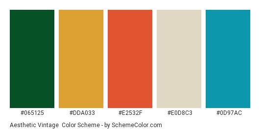 Aesthetic Vintage - Color scheme palette thumbnail - #065125 #dda033 #e2532f #e0d8c3 #0d97ac
