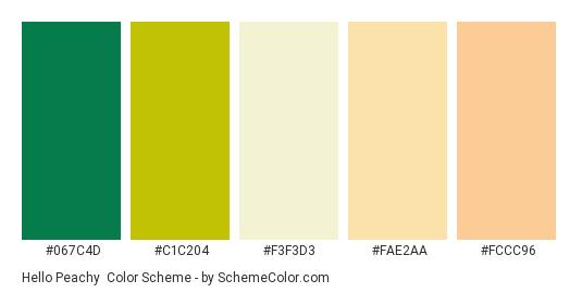 Hello Peachy - Color scheme palette thumbnail - #067c4d #c1c204 #f3f3d3 #fae2aa #fccc96